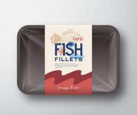 Carp fish fillets canned label design vector