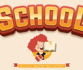 Cartoon background school editable vector text effect vector