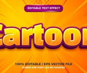 Cartoon comic kids 3d editable text style effect vector