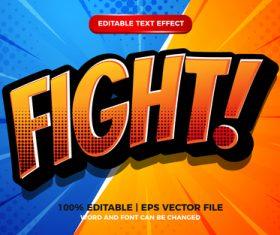 Cartoon fight editable text effect vector