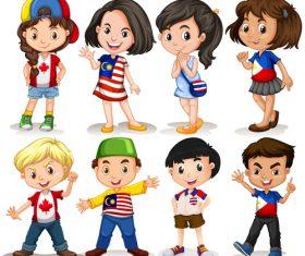 Cartoon little boy and little girl vector