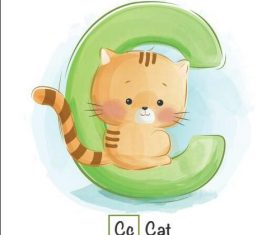 Cat english word cartoon vector