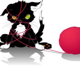 Cat entangled in thread vector
