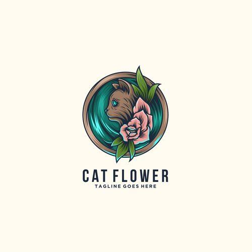 Cat flower logo vector