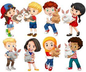 Children and small animals cartoon vector