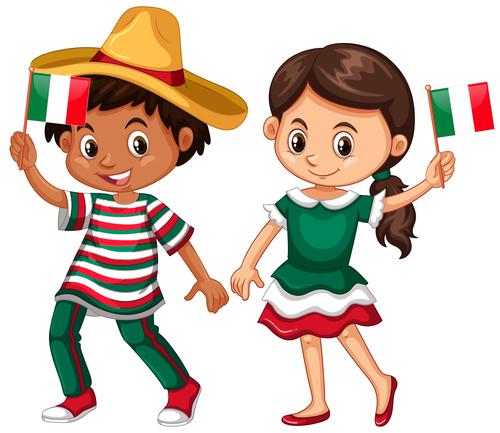 Children cartoon vector holding flag in hand
