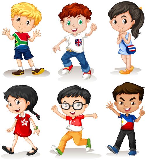Children cartoon vector of different countries