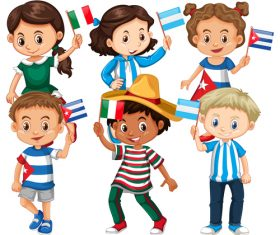 Children cartoon vector waving flags of different countries