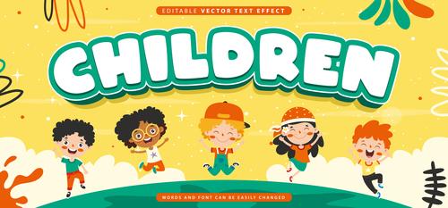 Children editable vector text effect vector
