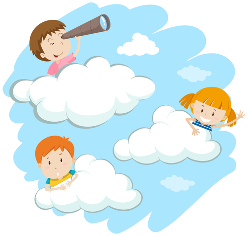 Children on the cloud cartoon vector