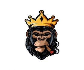 Chimpanzee king logo vector
