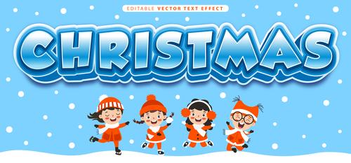 Christmas editable vector text effect vector