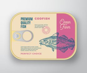 Codfish canned food packaging container vector