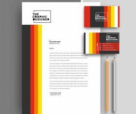 Color bar business letterhead and business card vector