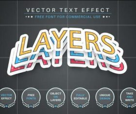 Color editable text effect font style vector