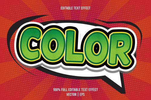 Color editable text effect vector