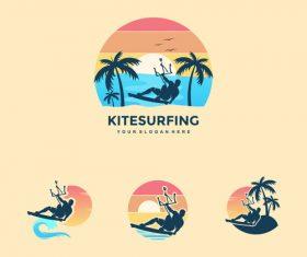Colorful Kitesurfing logo vector design