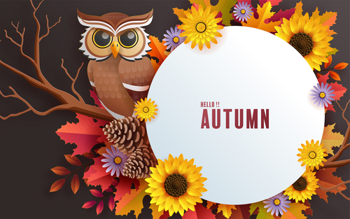 Colorful autumn leaves and owl vector background card