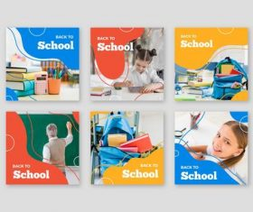 Colorful back to school card background vector