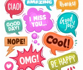 Colorful cartoon bubble text vector on white background