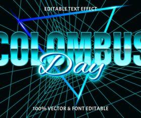 Columbus day editable text effect retro style vector