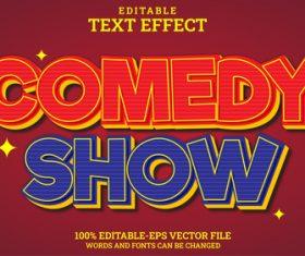 Comedy show vector editable text effect