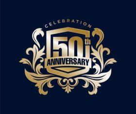 Corporate 50 years celebration logo vector