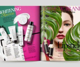 Cosmetic brand magazine cover vector