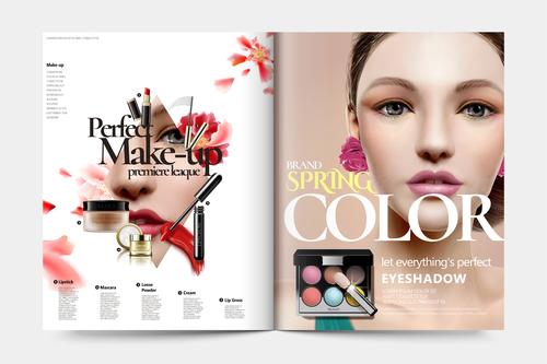 Cosmetic magazine cover vector