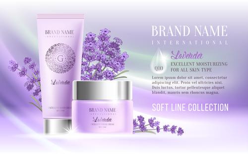 Cosmetics lavender series advertising vector