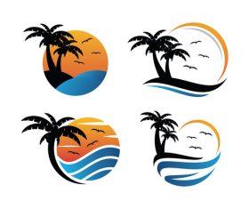 Creative beach logo vector