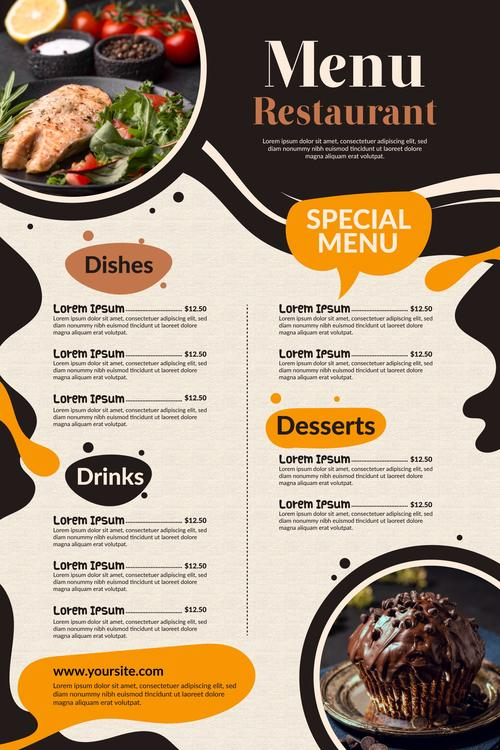 Creative restaurant menu digital use with photo vector