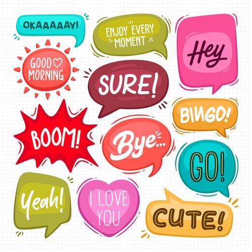 Cute colorful cartoon bubble text vector