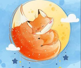 Cute fox baby cartoon vector
