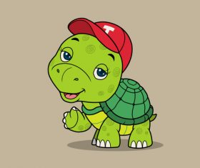 Cute little turtle vector