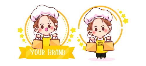 Cute woman chef logo vector