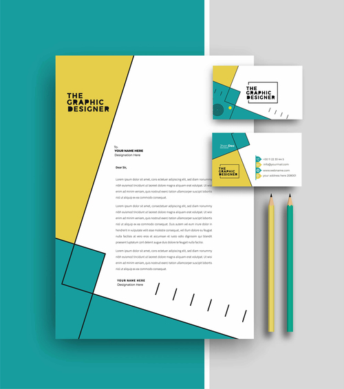 Cyan and yellow business letterhead and business card vector