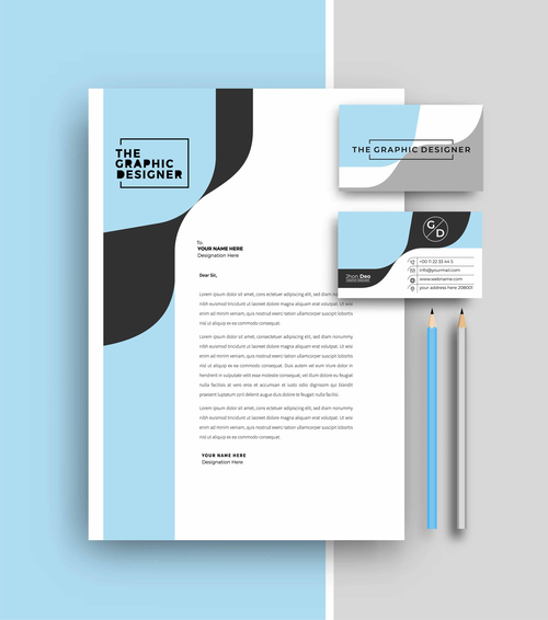 Cyan business letterhead and business card vector