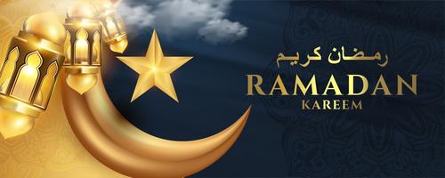 Dark background ramadan greeting card vector
