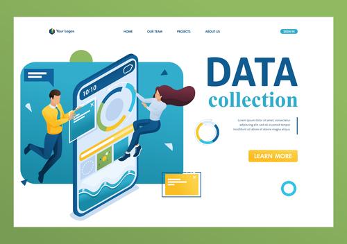 Data collection flat design vector