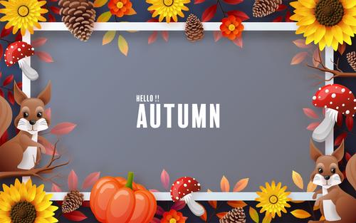Decorative beautiful frame autumn card vector