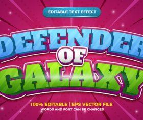 Defender of galaxy cartoon comic text effect vector