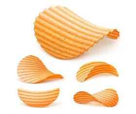 Delicious potato chips closeup vector