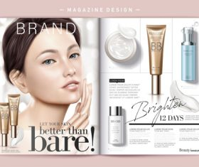 Design cosmetic magazine cover vector