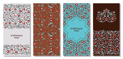 Different color arabesque design background vector