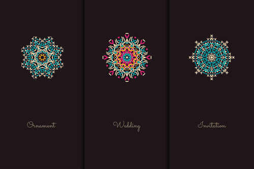 Different colors and geometric patterns mandala vector