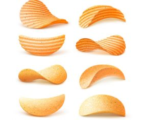 Different flavors potato chips close-up vector
