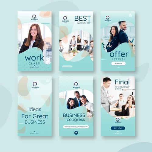 Different styles of corporate promotion vectors