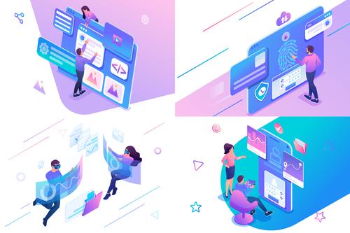 Digital technology flat design vector