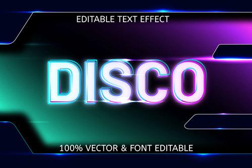 Disco style neon editable text effect vector